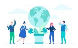 Internationellt projekt - färgrik illustration för plan designstil vektor illustrationer