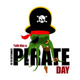 Internationellt samtal som en piratkopieradag Bläckfisken piratkopierar poulpebuc stock illustrationer