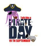 Internationellt samtal som en piratkopieradag Bläckfisken piratkopierar poulpebuc vektor illustrationer