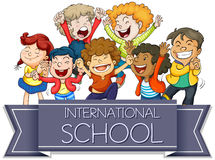 Internationellt skolatecken med lyckliga barn stock illustrationer