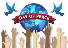 Internationnal Peace Day concept. Handup globe and dove background Stock Photography