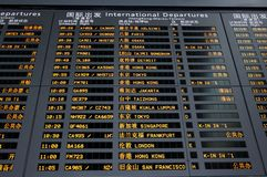 Internatonal Departure Board Royalty Free Stock Photo