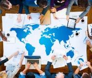 Internazionale di terra globale di globalizzazione di cartografia del mondo Conce Immagine Stock Libera da Diritti