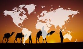 Internazionale di terra globale di globalizzazione di cartografia del mondo Conce immagini stock libere da diritti