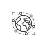 Internazionale, icona globale della linea di business, segno di vettore del profilo, pittogramma lineare isolato su bianco illustrazione vettoriale