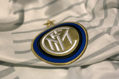 Internazionale Milano emblem. Italian football club Internazionale Milano emblem on football shirt Royalty Free Stock Images