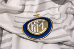 Internazionale Milano emblem. Italian football club Internazionale Milano emblem on football shirt Stock Photos