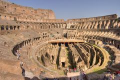 Interne breed van Rome Colosseum Stock Afbeeldingen