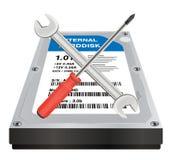 Interne Festplatte mit einem Schlüssel und Schraubenzieher reparieren Logo Lizenzfreie Stockfotos