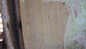 Interne Mening van helft-Vernietigd Oud Houten Dorpshuis stock videobeelden