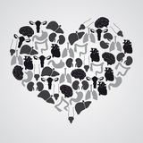 Interne menselijk lichaamsorganen in hartvorm stock illustratie