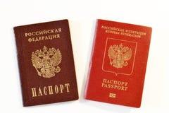 Interne und fremde Pässe der Russischen Föderation Lizenzfreies Stockfoto