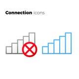Internetåtkomstsymbolsuppsättning inget anslutningssymbol Fotografering för Bildbyråer