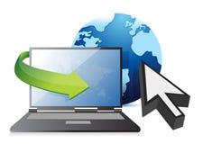 Internet – laptop, globe and cursor concept vector illustration