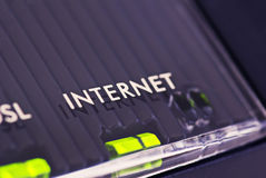 Internet. Network component is indication with green LED that internet connection is available Stock Images