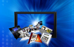 Internet. Web pages flying out of a monitor, broad internet concept illustration Stock Photos