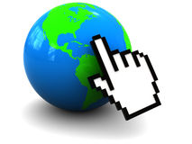 Internet. 3d illustration of hand mouse cursor over earth globe Royalty Free Stock Photo