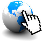 Internet. 3d illustration of earth globe with mouse pointing cursor, internet concept Stock Photography