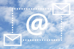 Internet. An @ sign and a blue sky as a symbol for email Stock Image