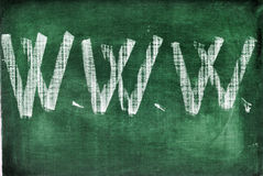 Internet. Www abbreviation for world wide web written with chalk on a chalkboard Royalty Free Stock Photos
