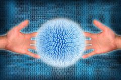 Internet. Globe shaped shiny computer language  and hands Stock Photos