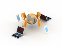 Internet. Computers and phones connected to internet Royalty Free Illustration