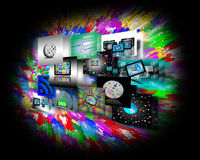 Internet abstraction. Abstraction which shows several images belonging to the global Internet Stock Images