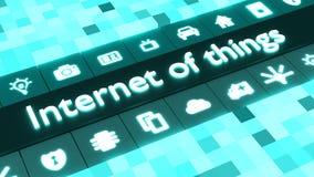 Internet abstracto del concepto de las cosas en azul con los iconos libre illustration