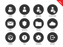 Internet account icons on white background Stock Photo