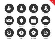 Internet account icons on white background Stock Photo
