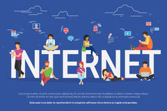 Internet addicted people concept illustration Royalty Free Stock Photo