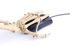Internet addiction. Concept with skeleton hand royalty free stock photos
