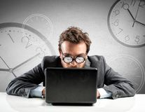 Internet addiction concept. With clock in the glasses Stock Photos