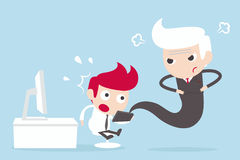 Internet Addiction employee and angry boss. Cartoon Royalty Free Stock Photos