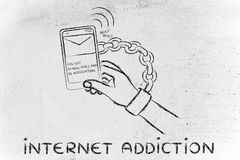 Internet addiction, illustration of hand chained to a mobile Stock Photo
