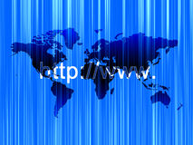 Internet address. And world map Stock Image