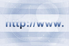 Internet address background. Blue and white striped background with text 'http://www Vector Illustration