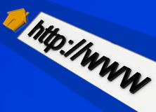 Internet address background. Internet address with home button Stock Photography