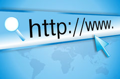 Internet address, computer screen Stock Images
