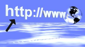 Internet address with earth. Http://www Internet address written in white, with a black arrow under and followed by an earth. Blue and cloudy byckground Royalty Free Stock Image