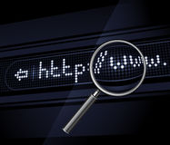 Internet address and magnifier Stock Image