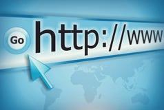 Internet address, schermo di computer Fotografia Stock