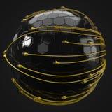 Internet amarillo telegrafía el recubrimiento de la esfera de alta tecnología el ejemplo conceptual 3d del cable de Ethernet y rj Fotografía de archivo libre de regalías