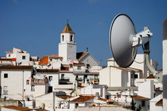 Internet antenna points towards Spanish village Stock Images