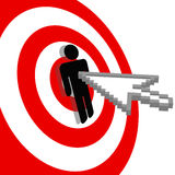 Internet arrow clicks bulls eye target Stock Photography