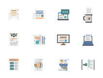 Internet articles flat color icons set. Creating and publishing content, web articles, hot news. Media flat color icons set. Elements of web design for business Stock Photography