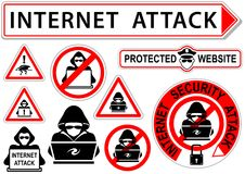 Internet Attack Signs or Icons Royalty Free Stock Photo