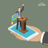 Internet auction isometric flat vector concept. Royalty Free Stock Image