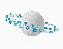 Internet av allt IoE Internetuppkopplingbegreppsillustration Royaltyfri Foto