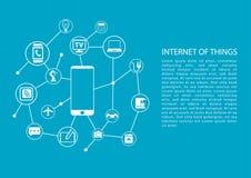 Internet av begreppet för saker (IOT) med mobiltelefonen förband till nätverket av apparater vektor illustrationer